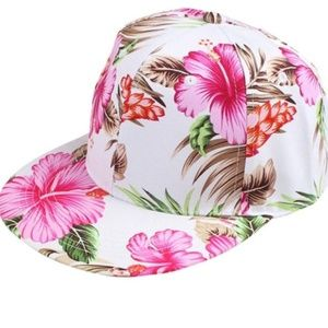Tropical Floral White Pink Snapback Hat